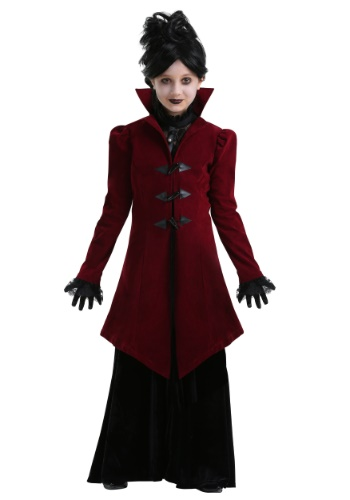 Click Here to buy Delightfully Dreadful Vampiress Girls Costume from HalloweenCostumes, USA Funds & Shipping