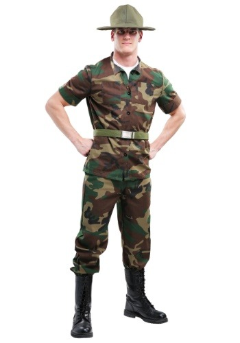 Mens Plus Size Drill Sergeant Costume