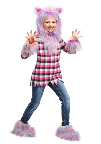 Click Here to buy Girls Fierce Rainbow Werewolf Costume from HalloweenCostumes, USA Funds & Shipping