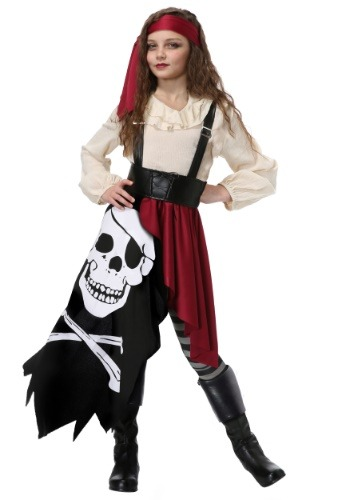 Skeleton Flag Rogue Pirate Costume for Girls