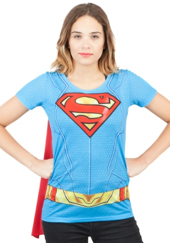 Click Here to buy Supergirl Suit Up Sublimated Cape Tee for Women from HalloweenCostumes, CDN Funds