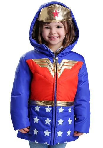 Click Here to buy DC Comics Wonder Woman Puffer Coat for Girls from HalloweenCostumes, CDN Funds