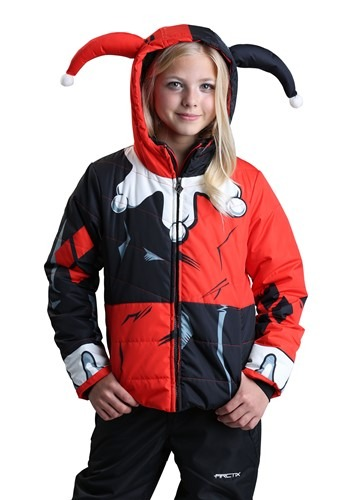 Click Here to buy DC Comics Harley Quinn Puffer Coat for Girls from HalloweenCostumes, CDN Funds