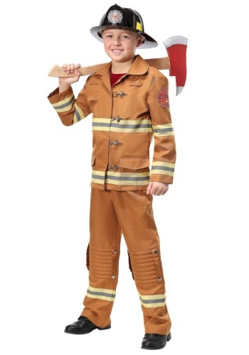Firefighter Tan Uniform Kids Costume1