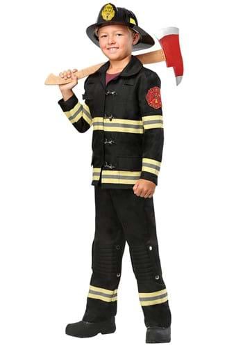 Kids Black Uniform Firefighter Costume1
