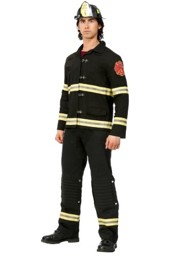 Click Here to buy Black Uniform Firefighter Mens Costume from HalloweenCostumes, CDN Funds