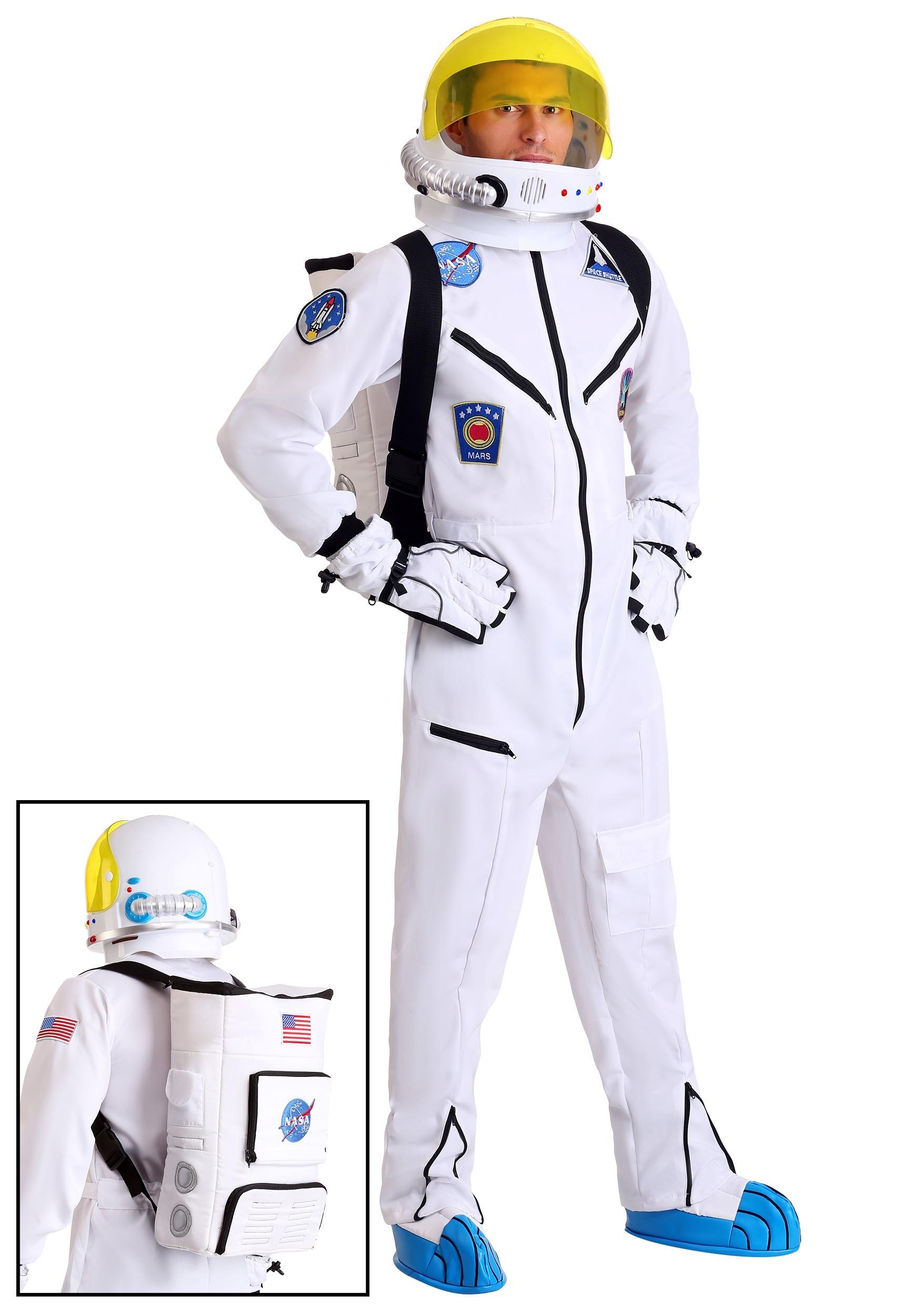 white astronaut jumpsuit adult costume. Black Bedroom Furniture Sets. Home Design Ideas