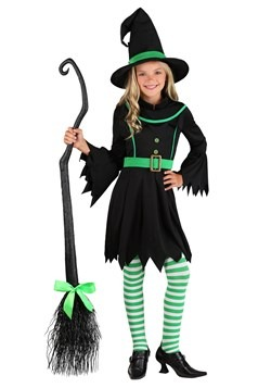 Girl's Emerald Witch Costume 1