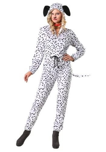 Womens Cozy Dalmatian Costume Jumpsuit