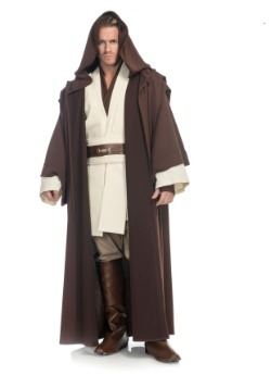Adult Star Wars Jedi Luke Skywalker Obi Wan Costume Tunic Shirt Belt White Beige