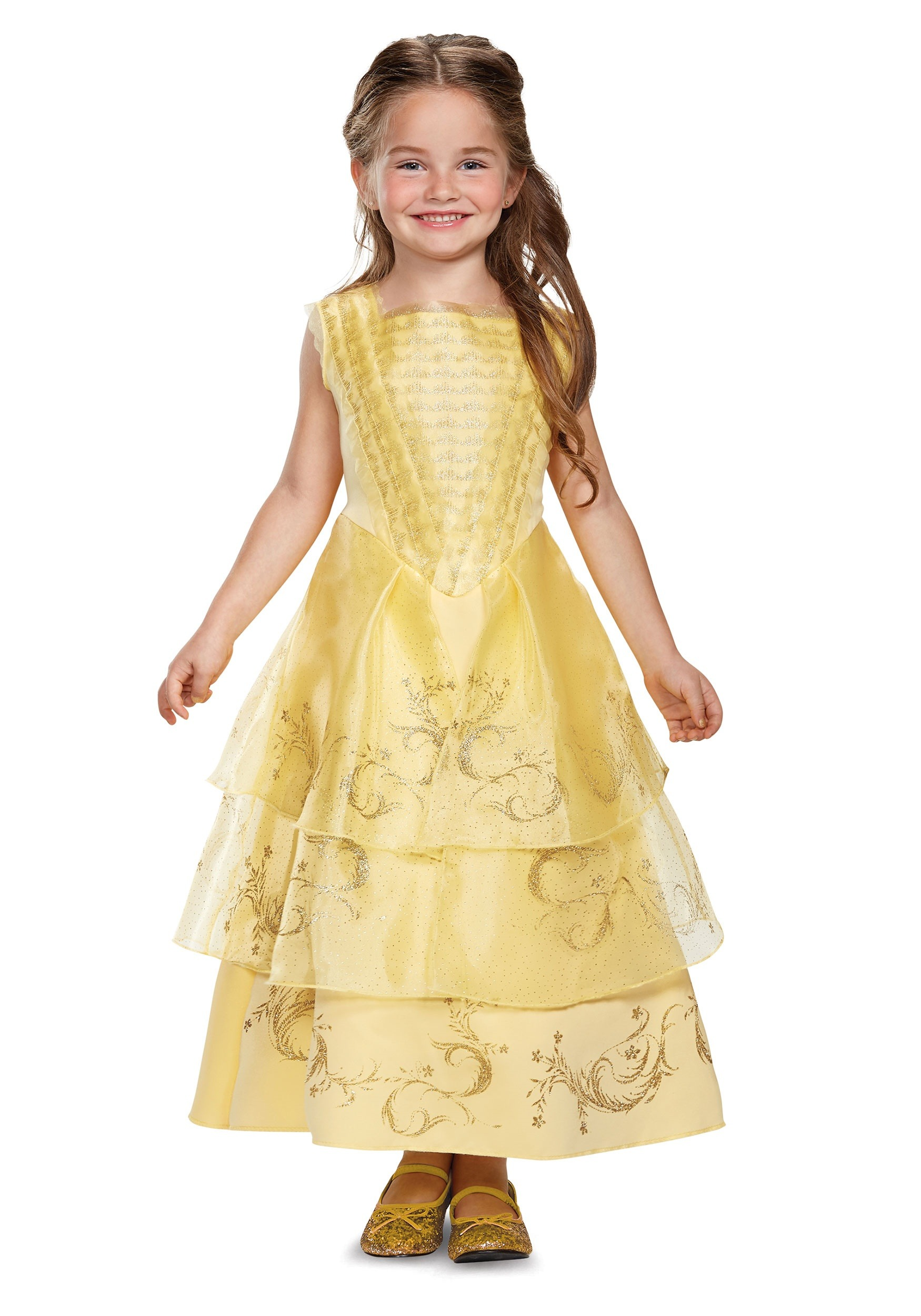 Child Belle Ball Gown Deluxe Costume Beauty and the Beast live action movie style yellow gold color dress for girls