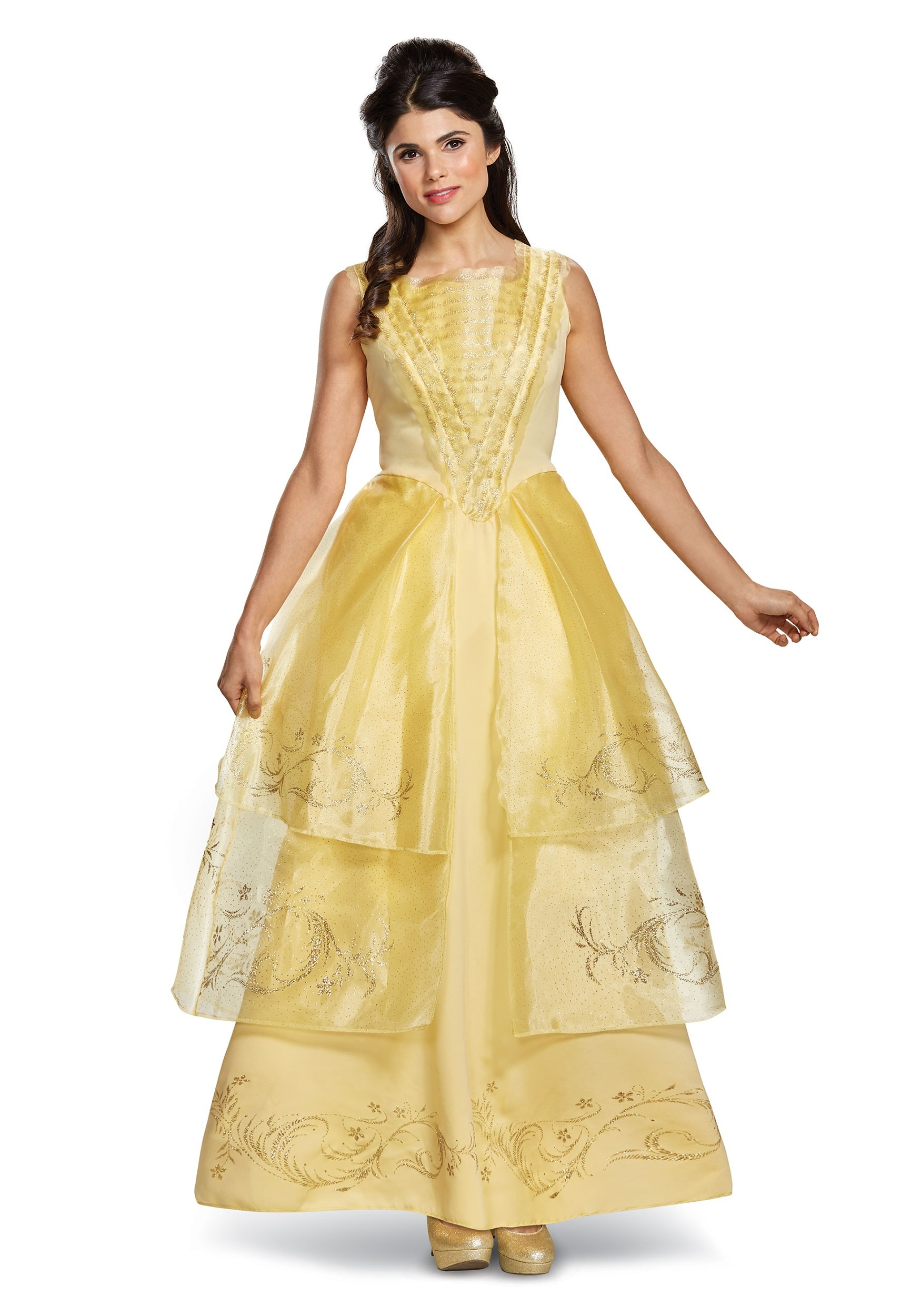 Belle Ball Gown Deluxe Women's Costume Beauty and the Beast live action movie design yellow gold color dress for adult women