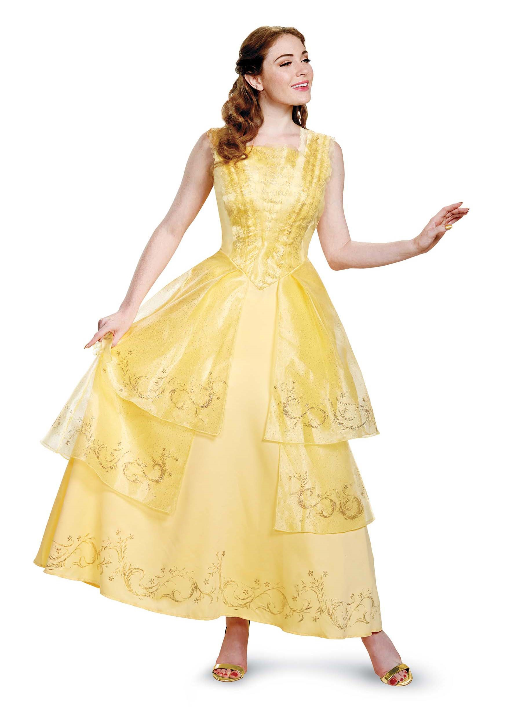 Beauty And The Beast Live Action Movie Design Yellow Gold BELLE BALL GOWN PRESTIGE ADULT Officially Licensed By Disney With Back Zipper