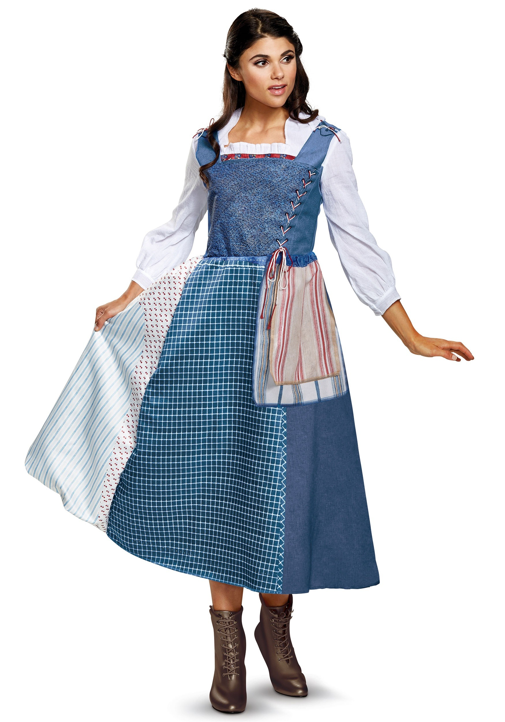 Deluxe Belle Village Provincial Blue Dress Women's Costume Beauty and the Beast new live action movie design