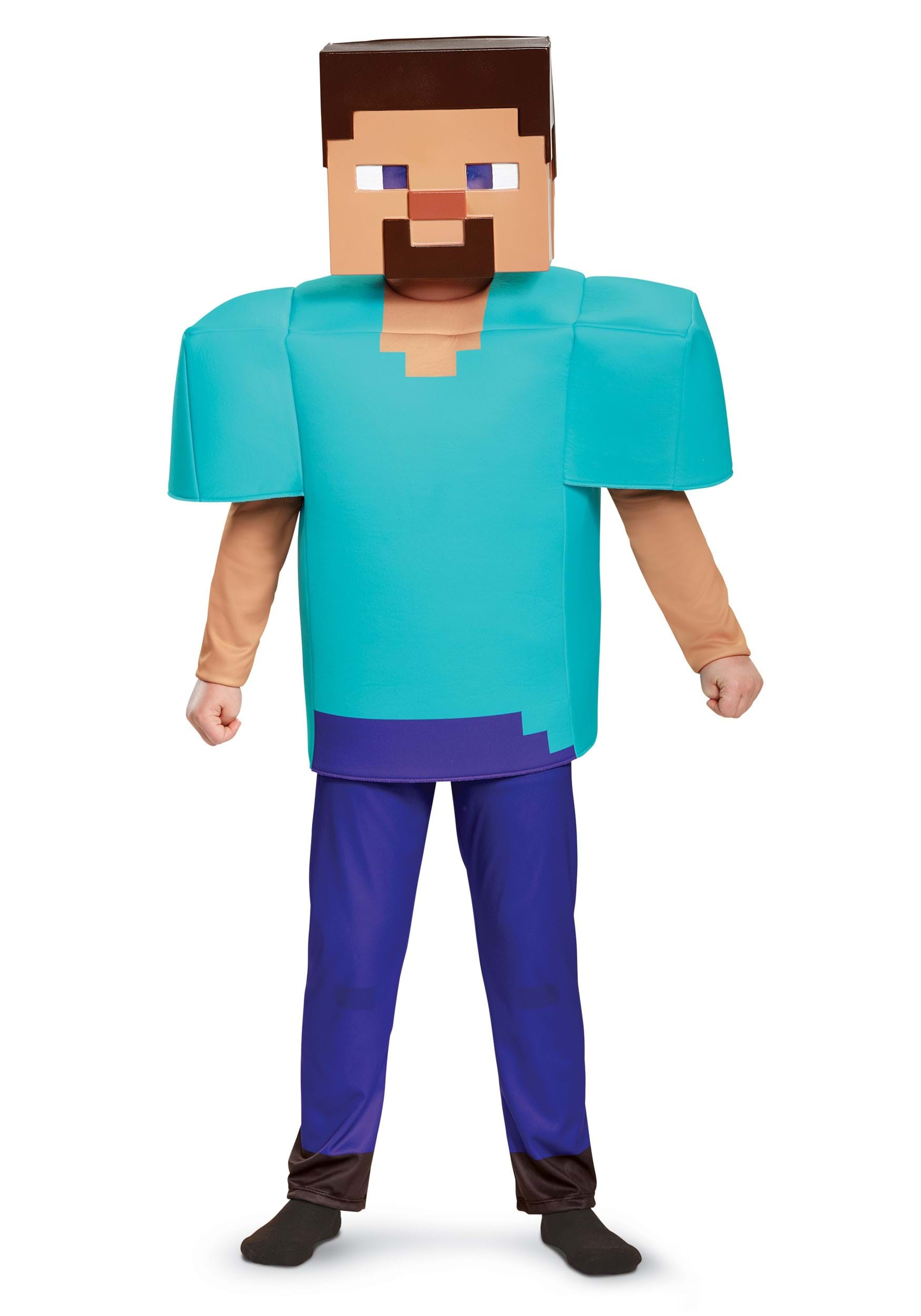 minecraft steve deluxe costume for boys