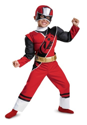Red Ranger Ninja Steel Toddler Muscle Costume For Boys