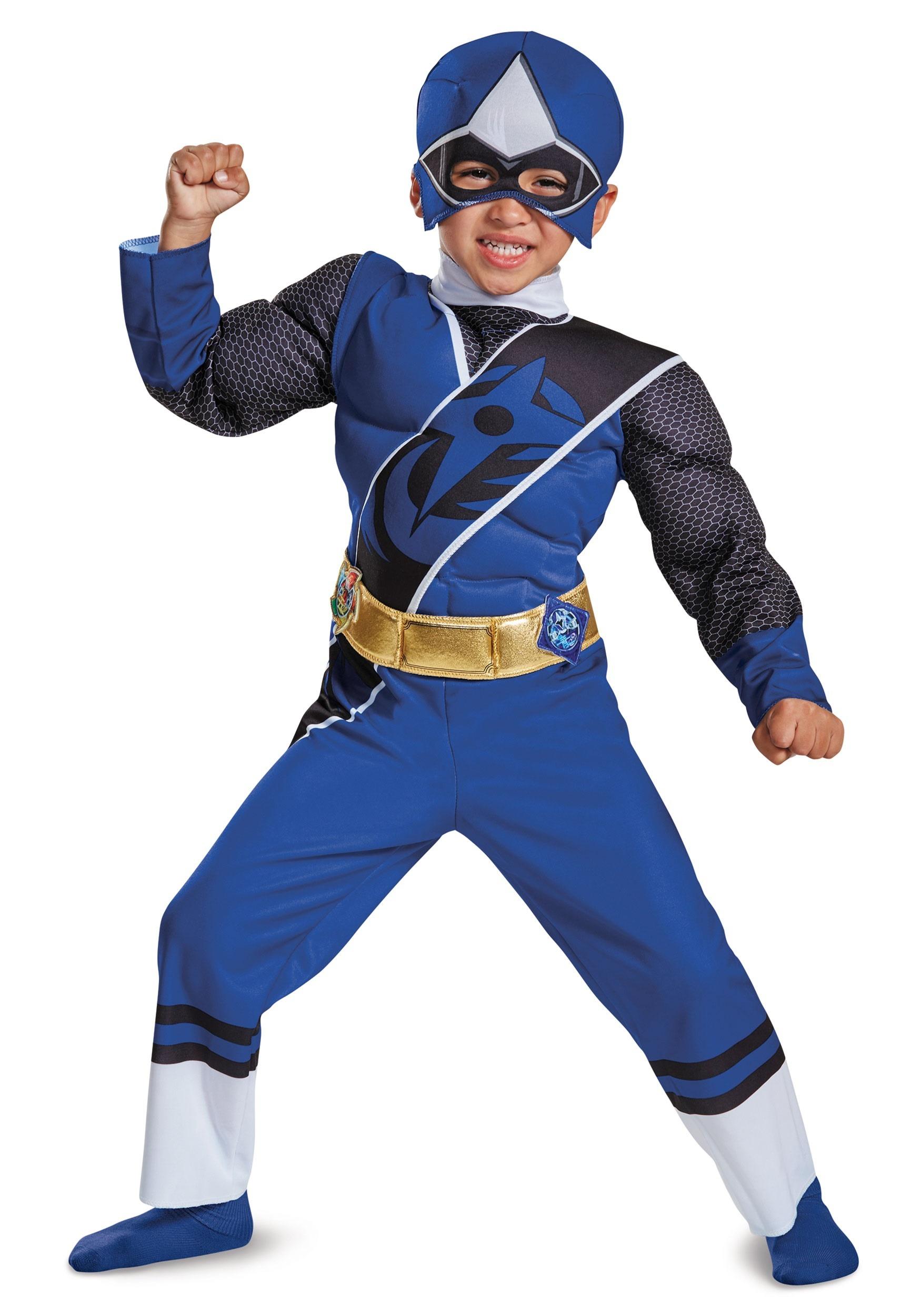 Power Rangers Ninja Steel Blue Ranger Muscle Costume For Toddlers