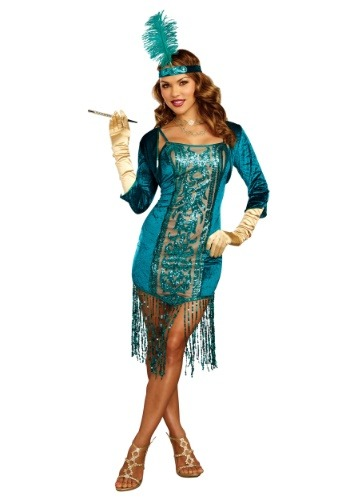 Click Here to buy Tantalizing Teal Flapper Womens Costume from HalloweenCostumes, USA Funds & Shipping