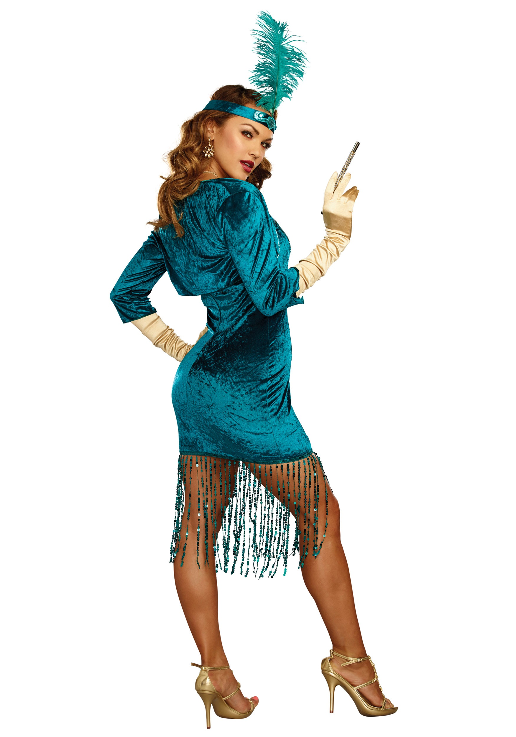 Womens Tantalizing Teal Flapper Costume