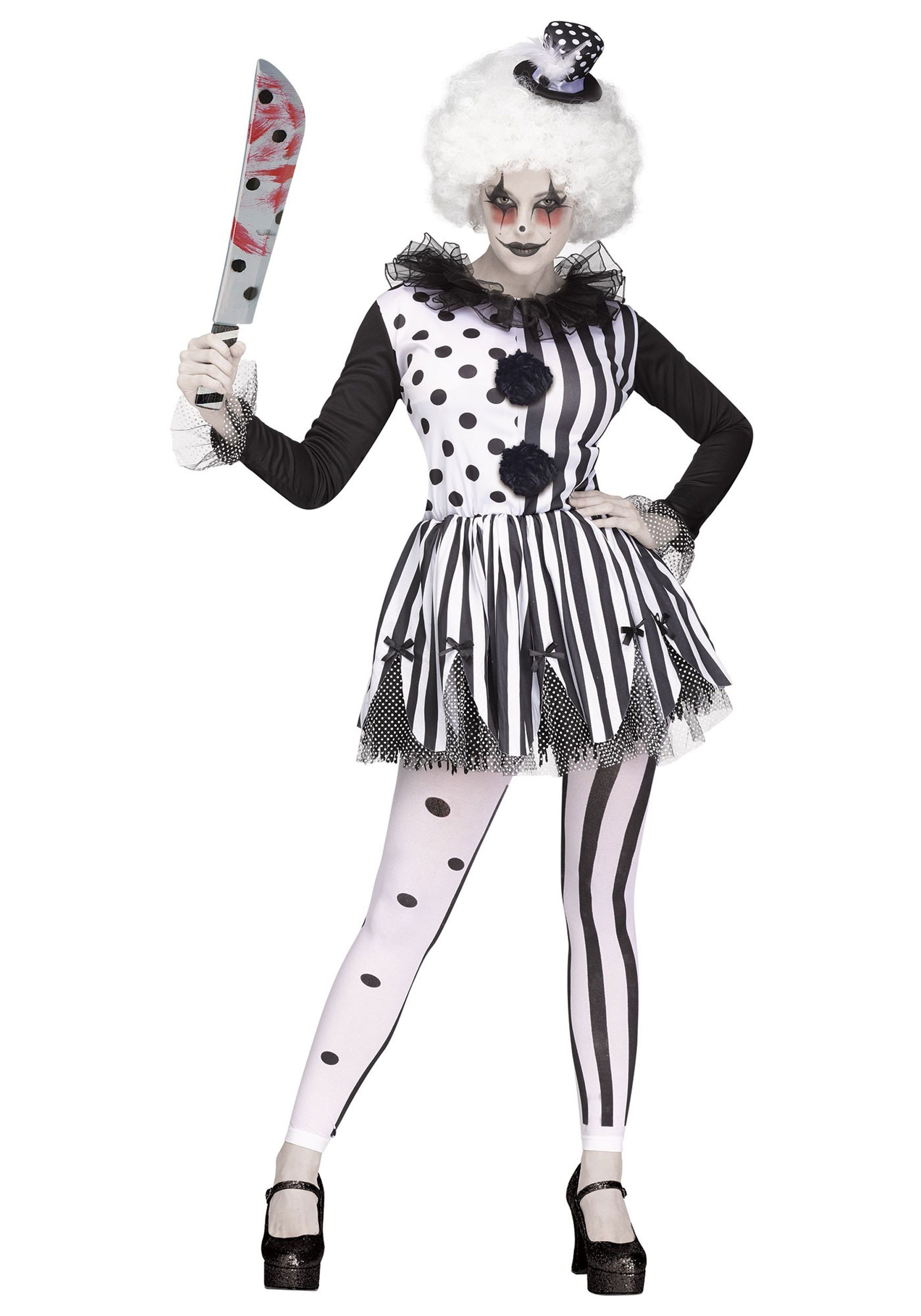 TEEN KILLER CLOWN COSTUME HORROR SCARY JESTER GIRLS HALLOWEEN FANCY DRESS