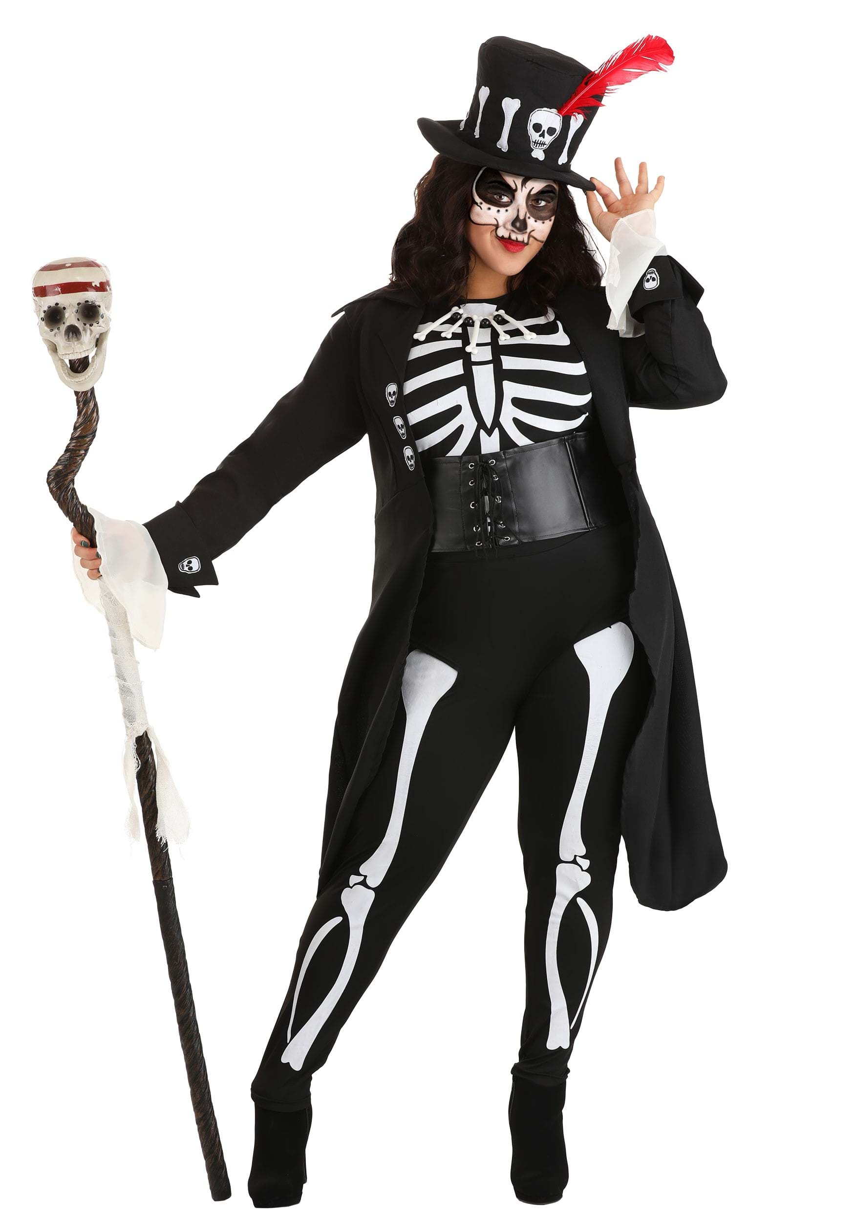 plus size womens voodoo skeleton costume