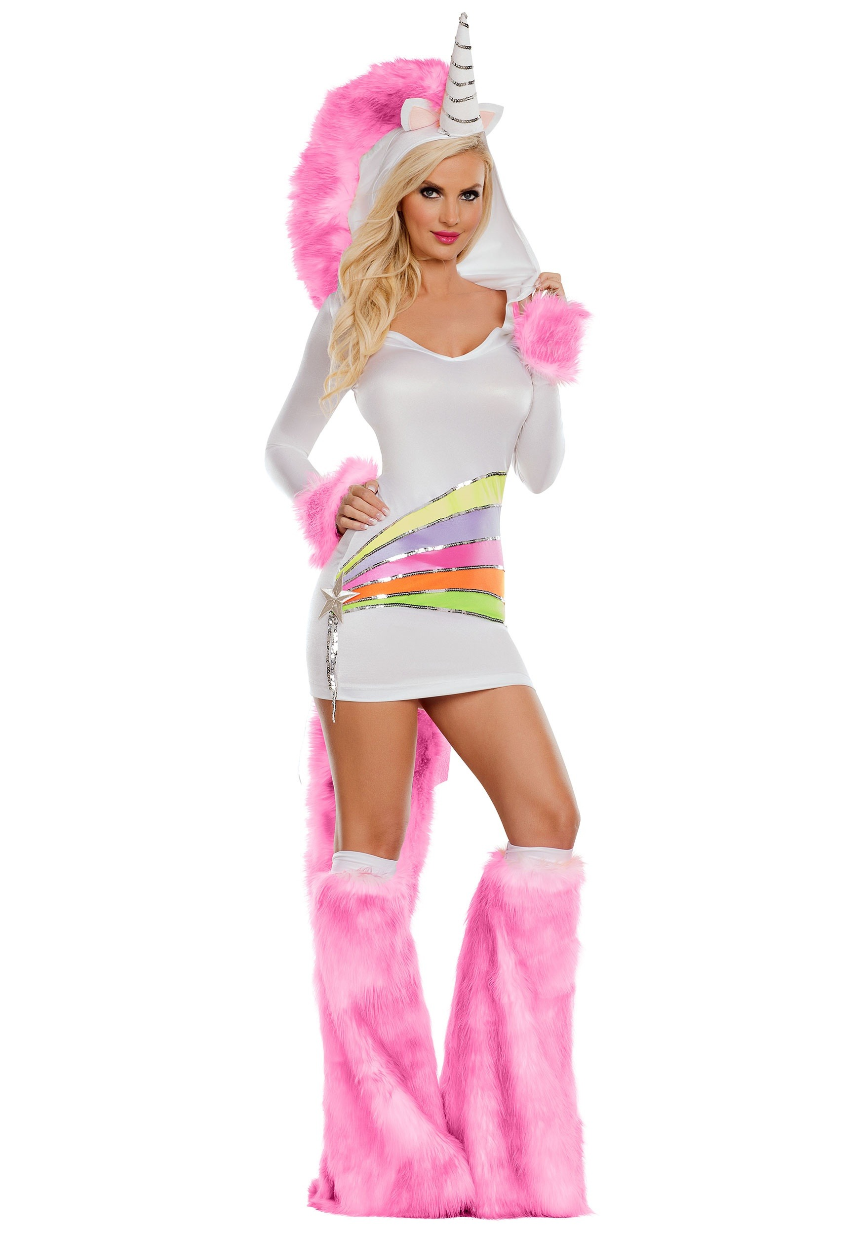 WOMENS UNICORN RAINBOW FANTASY COSTUME women includes Dress boot covers tail