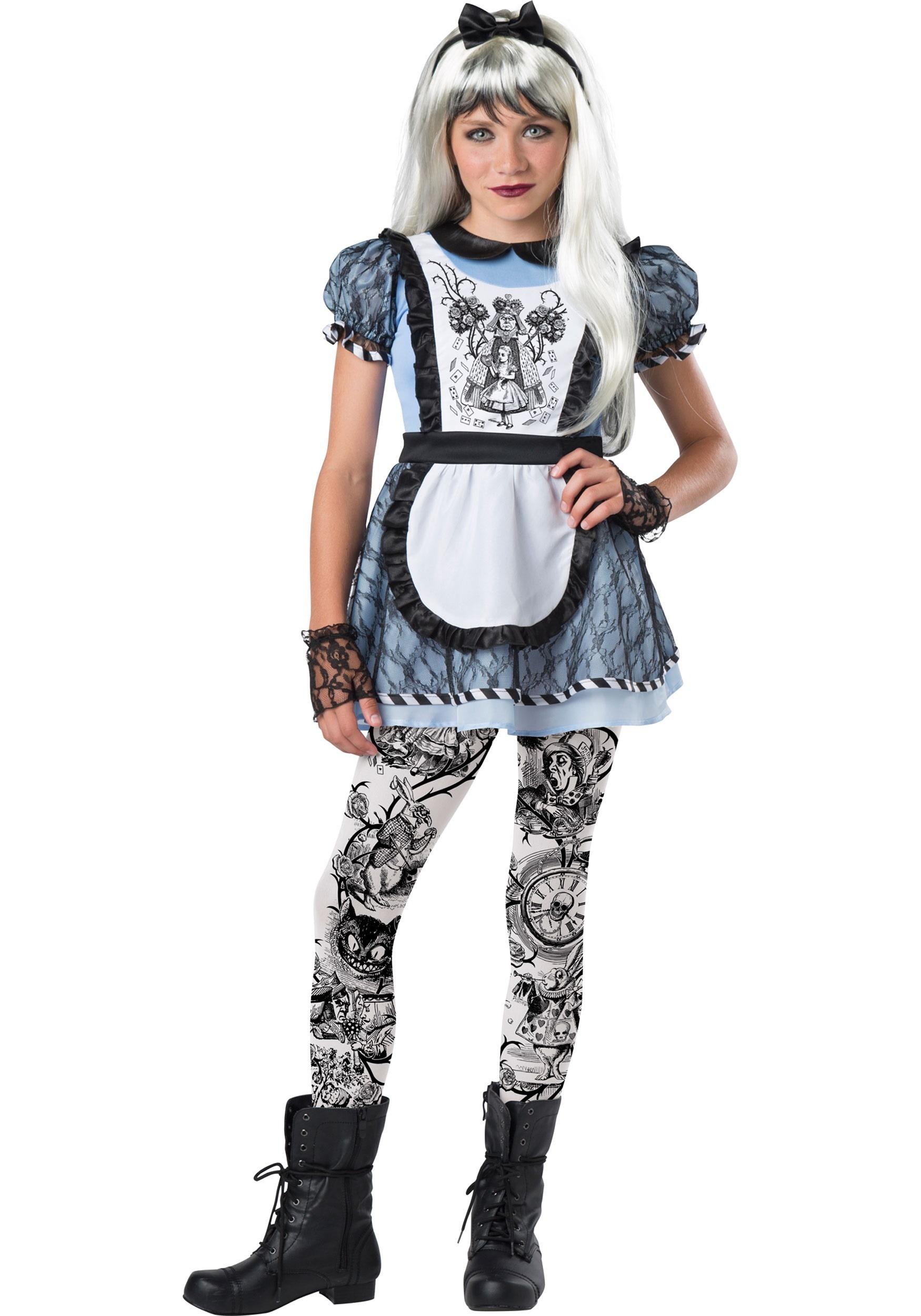 Dark Alice in Wonderland Tween Costume with dress and leggings