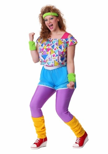 Womens Plus Size Work It Out 80s Costume