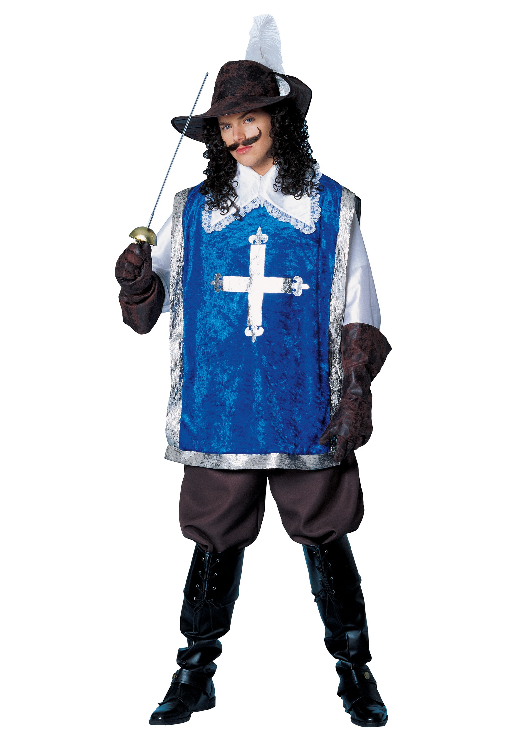 MEN'S MUSKETEER COSTUME includes Shirt/tunic Combo Cropped Pants Hat w/ Feather Gloves Halloween Adult