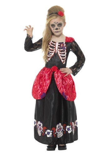Click Here to buy Day of the Dead Girls Costume from HalloweenCostumes, USA Funds & Shipping