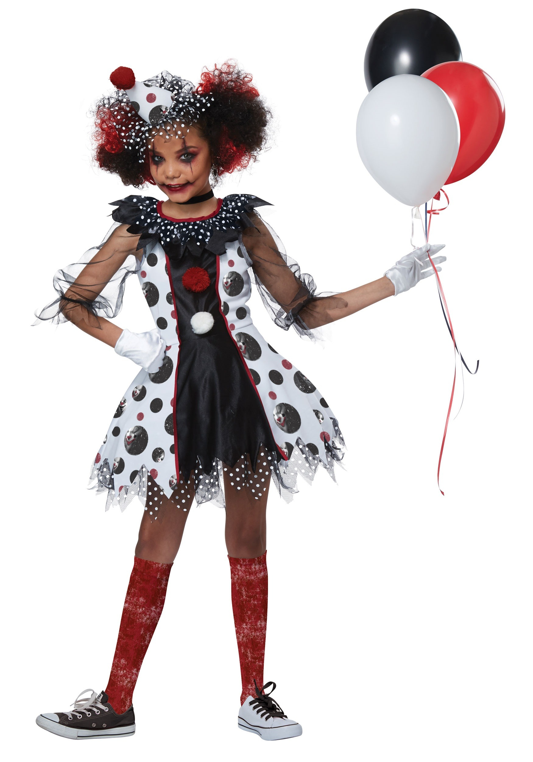Killer Clown Halloween Costumes For Girls.Creepy Clown Girls Costume