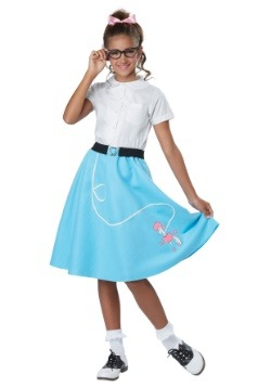 Girls Blue 50's Poodle Skirt
