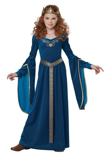 Teal Medieval Princess Girls Costume-update1