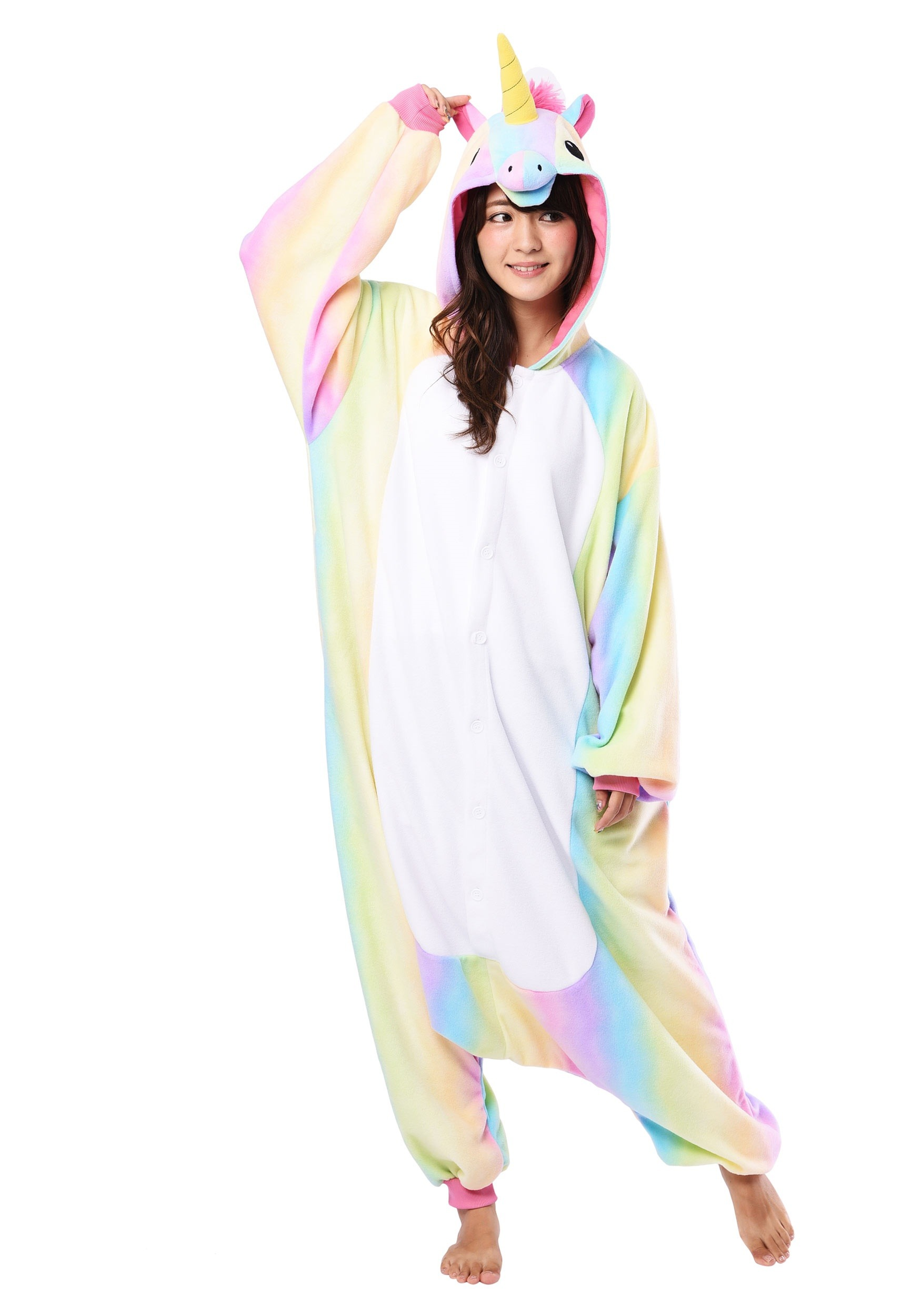 Rainbow Unicorn Adult Kigurumi  sc 1 st  Halloween Costumes & Rainbow Unicorn Kigurumi for Adults