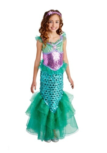 Click Here to buy Blue Seas Mermaid Deluxe Girls Costume from HalloweenCostumes, USA Funds & Shipping