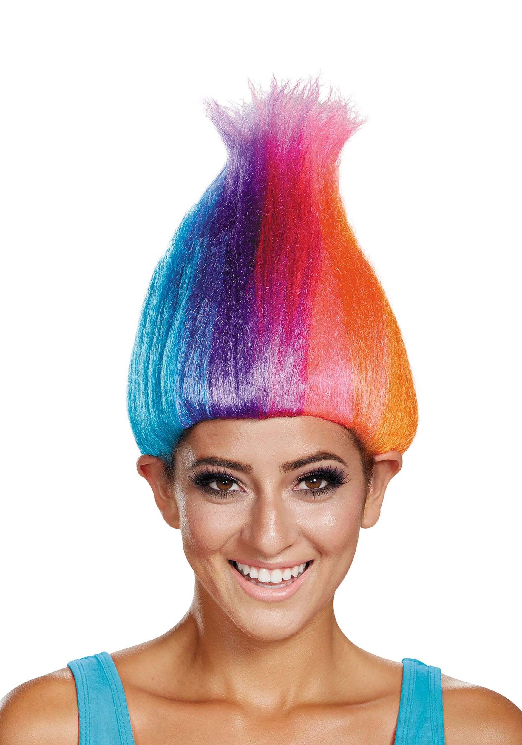 Rainbow Colored Troll Wig for ...