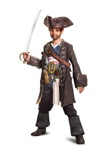 Click Here to buy Captain Jack Sparrow Prestige Boys Costume from HalloweenCostumes, CDN Funds