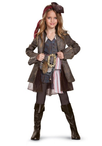 Click Here to buy Captain Jack Sparrow Deluxe Girls Costume from HalloweenCostumes, CDN Funds