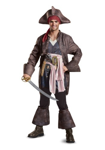 Click Here to buy Captain Jack Sparrow Deluxe Mens Costume from HalloweenCostumes, USA Funds & Shipping