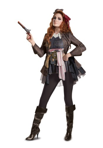 Click Here to buy Captain Jack Sparrow Deluxe costume for Women from HalloweenCostumes, USA Funds & Shipping