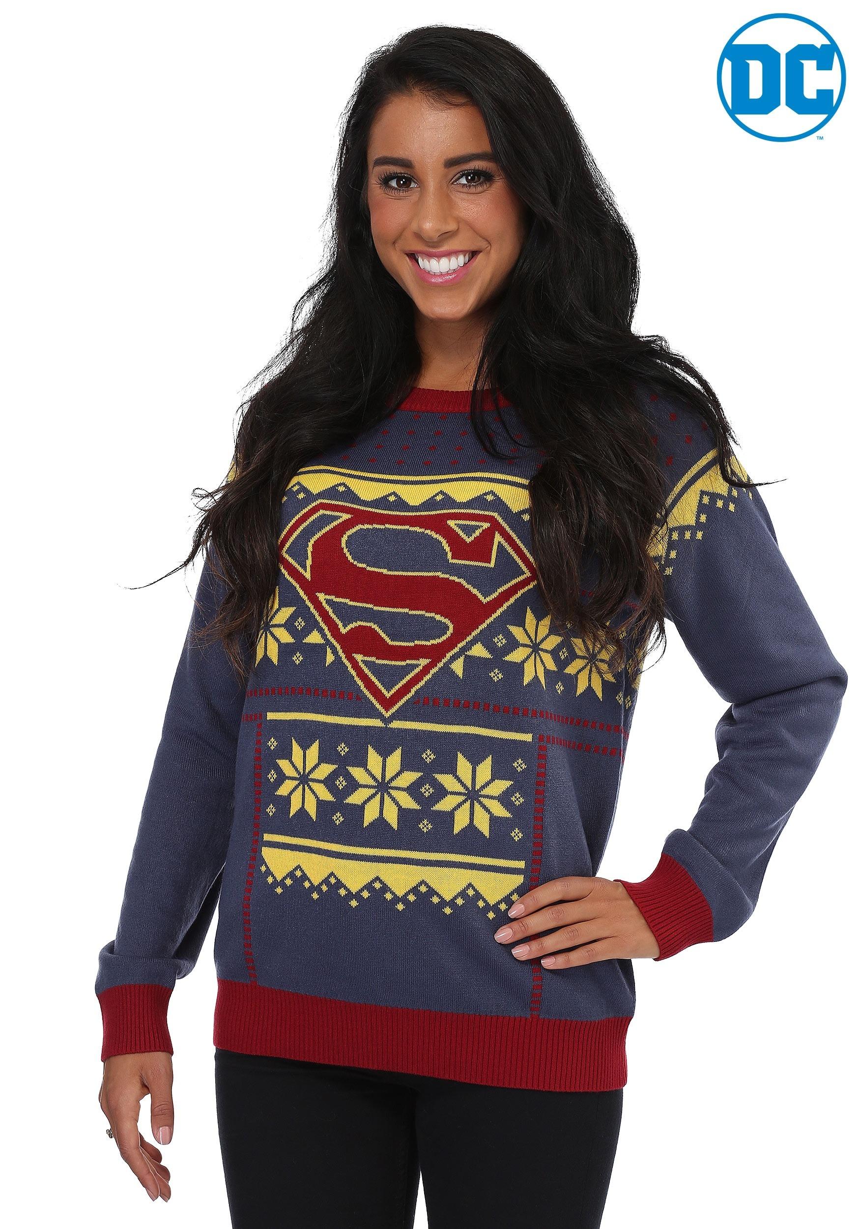 Superhero Ugly Christmas Sweaters.Women S Superman Ugly Christmas Sweater