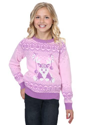 Girl's Pink Reindeer Sweater
