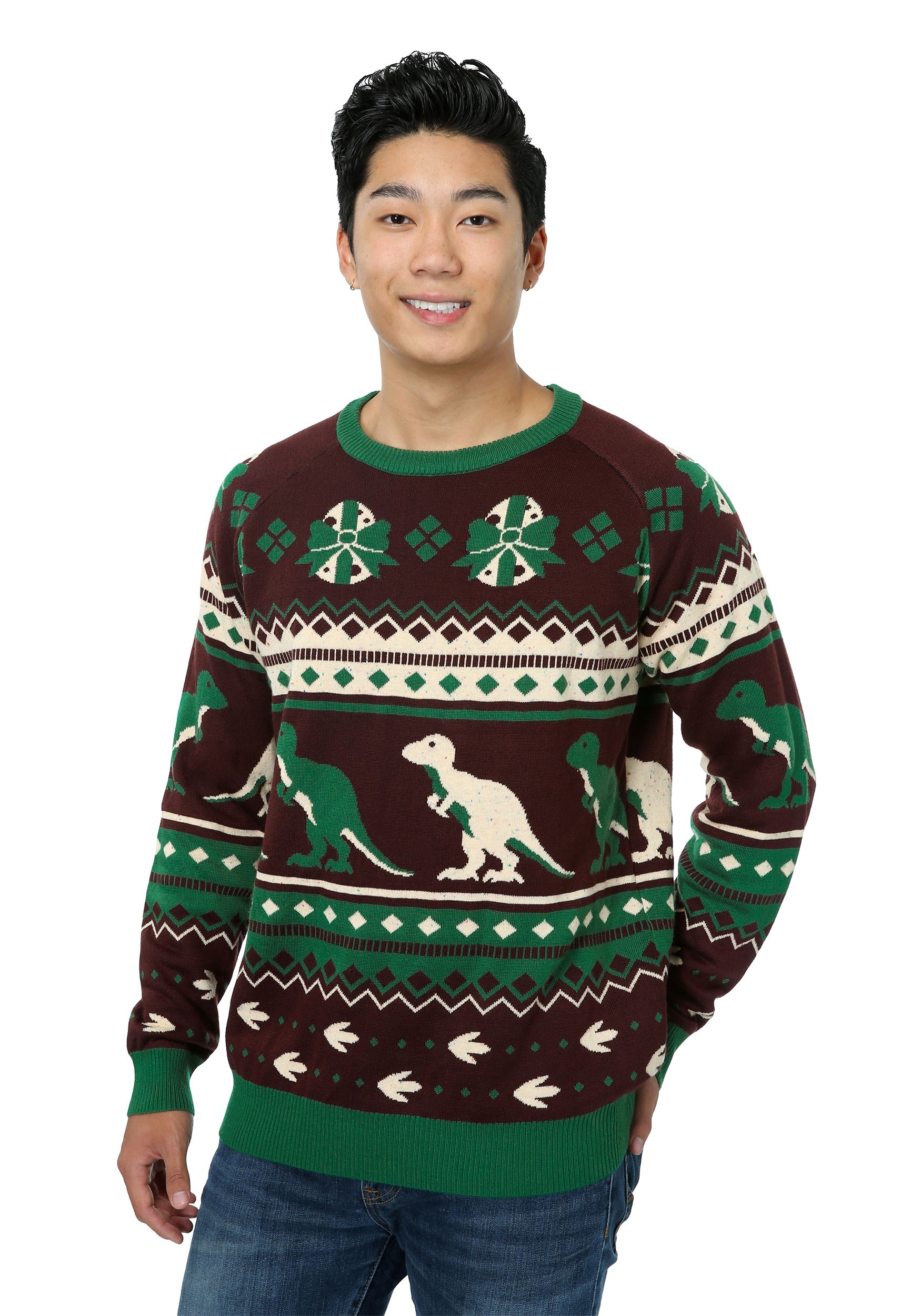 Christmas sweater with dinosaurs