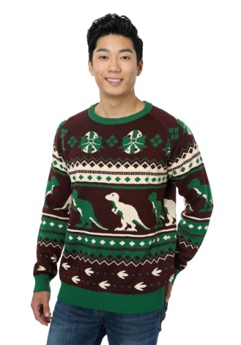 Mens Holiday Dinosaur Ugly Christmas Sweater