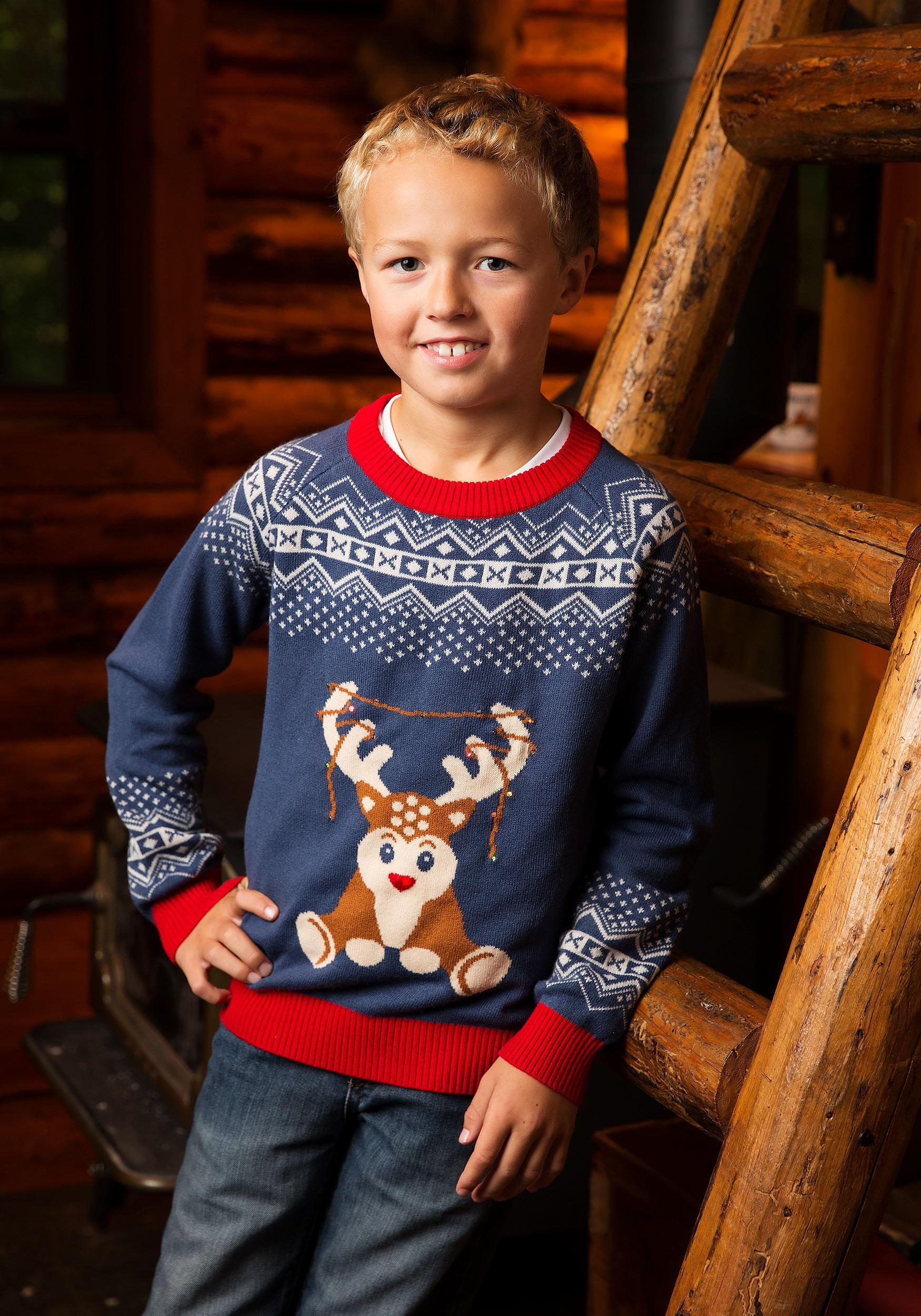 Reindeer Led Light Up Ugly Christmas Sweater For Boys