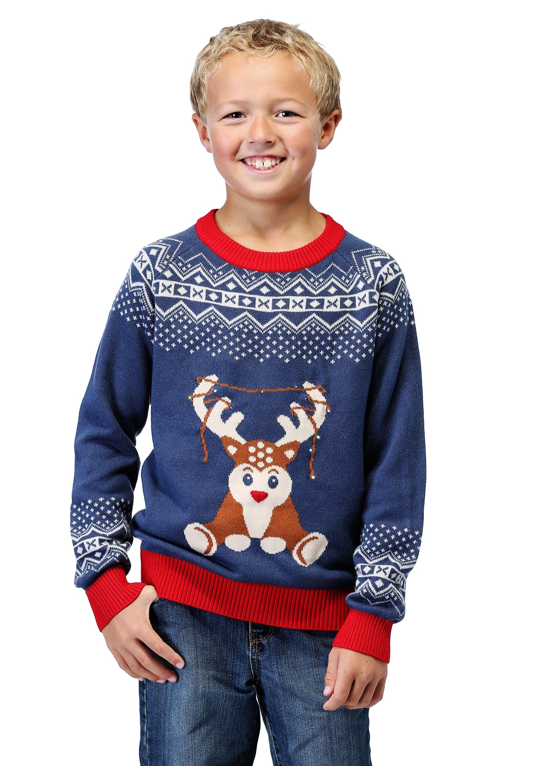17355cdd1a7f6 Reindeer LED Light Up Ugly Christmas Sweater for Boys