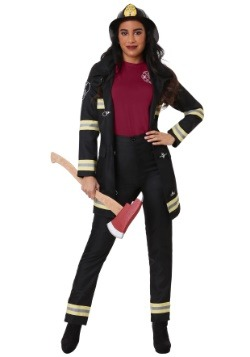 Plus Size Women's Black Firefighter Costume