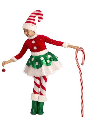 Click Here to buy Candy Cane Elf Princess Costume from HalloweenCostumes, CDN Funds