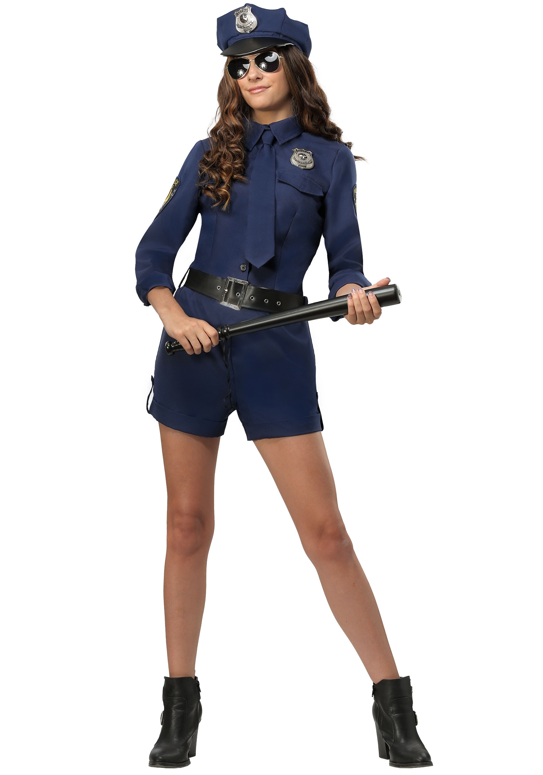 Police Fitted Womens Adult Cop Officer Halloween Costume Shirt