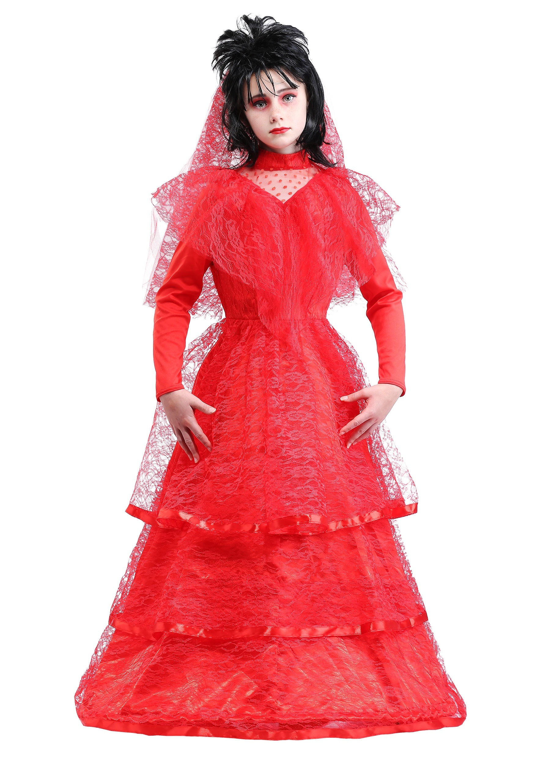 Red Gothic Wedding Dress Costume for Kids